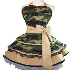Retro Camo  Army Wife Pin Up Apron One of a Kind by WellLaDiDa, $50.00