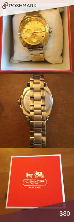 Coach Watch Gold Coach Watch! Comes with original box and manual. Slight tarnishing on the band but not noticeable. Amazing condition overall. Needs a new battery Coach Accessories Watches