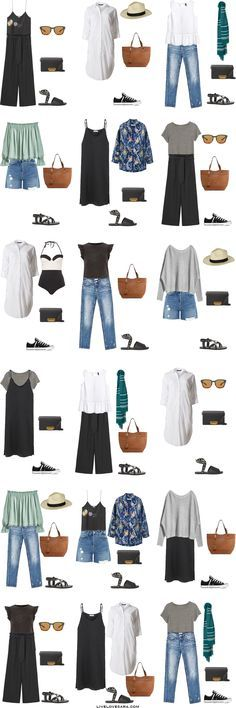 """When I do the """"What to Wear"""" posts I generally have two large collages with 10-12 outfits on each one, but this week I have changed it just a Holiday Outfits, Spring Outfits, Mode Ab 50, Europe Outfits, Travel Outfits, Packing Outfits, Italy Outfits, Packing Shoes, Travel Outfit Summer"""
