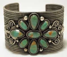 Old Pawn Navajo Green Fox Turquoise Sterling Silver Cuff Bracelet - Loranzo…