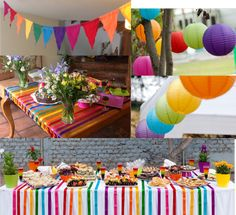 Possible tabletop idea: use ribbons across but gang colors together so each guest has a specific color