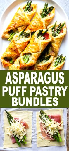These Prosciutto Asparagus Puff Pastry Bundles are an easy and elegant appetizer or brunch idea! Perfect for Easter, Mother's Day or any other spring brunch! Puff Pastry Appetizers, Easter Appetizers, Finger Food Appetizers, Appetizers For Party, Appetizer Recipes, Dinner Recipes, Christmas Appetizers, Finger Foods, Easter Recipes