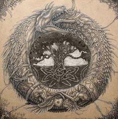 phoenix and ouroboros Yggdrasil Tattoo, Ouroboros Tattoo, Norse Mythology Tattoo, Norse Tattoo, Celtic Dragon Tattoos, Viking Tattoos, Viking Art, Viking Symbols, Jormungandr Tattoo