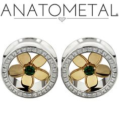 "7/8"" Plumeria Eyelets in ASTM F-138 stainless steel with solid 18k yellow gold Plumeria Inserts: princess-cut CZ and brilliant-cut synthetic Emerald gemstones"