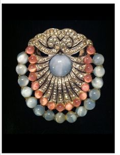 Vintage 1920 Stunning Fur Clip Shell Shape Blue Moonstone and Light Coral Color Iridescent Globe Stones Rhinestones and Etching on Closure on Etsy, $68.00