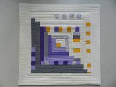 """Purple, Yellow and Grey Modern Art Quilt"" by Kristin Shields. (Great color inspiration for the next bee I'm in!)"