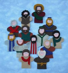 Jesus & Disciples, could cut out 12 small people in chain with hands attached ajd let kids decorate and have name stickers for each one. Have separate Jesus doll on top of page.