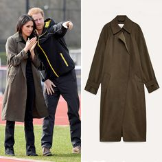 On April 6, Prince Harry and Meghan visited Bath, England, attending the UK team trials for the Invictus Games at the University of Bath Sports Training Village. Bride-to-be Meghan wore a $245 machine washable trench coat by Babaton for Aritzia, a black Invictus Games polo and dark boot cut jeans by Mother Denim.