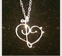 Treble clef necklace, bass necklace, music love heart necklace, sterling silver, music note necklace by EllynBlueJewelry on Etsy