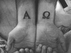 alpha + omega wrist tattoos
