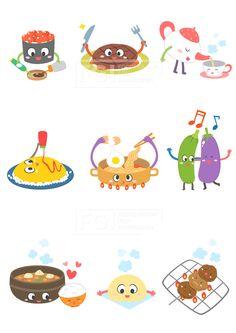 SILL188, 푸드캐릭터, 캐릭터, 푸드, 음식, 요리, 벡터, 에프지아이, 초밥, 스테이크, 차, 주전자, 컵, 오므라이스, 라면, 가지…
