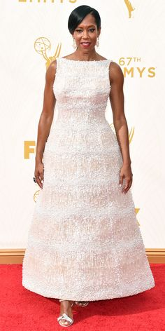 Emmys 2015 Red Carpet Arrivals - Regina King in a white gown.