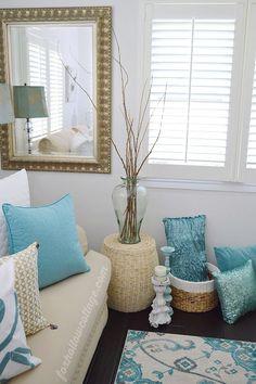 Coastal Cottage Home | White, Neutral/Natural and Aqua Decorating Ideas