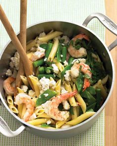 Two steps -- boil and toss -- lead to a pasta with varied tastes and textures, from sweet shrimp and fresh mint to creamy feta and crunchy snow peas. Before cooking the penne, double-check the package instructions to help you determine when to add in the rest of the ingredients.