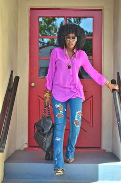Style Pantry | Moto Jacket + Chiffon Blouse + DIY Distressed Jeans