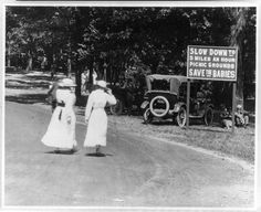 """""""Slow Down to Save the Babies"""" A cautious sign at the picnic grounds in Belle Isle, Detroit.   #history #Detroit  #roadsafety"""