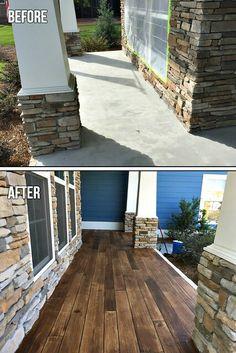 Concrete patio makeover Concrete Faux Wood - Before & After Concrete Patios, Concrete Front Porch, Painting Concrete Porch, Stained Concrete Porch, Painted Concrete Steps, Concrete Siding, Stain Concrete, Patio Ideas Over Concrete, Painted Floors
