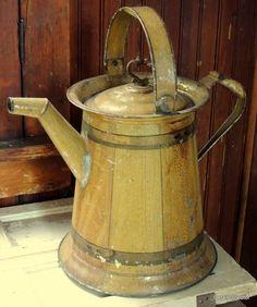 Antique Grain Painted Watering Can Tin Tole Victorian Primitive 1800s Original