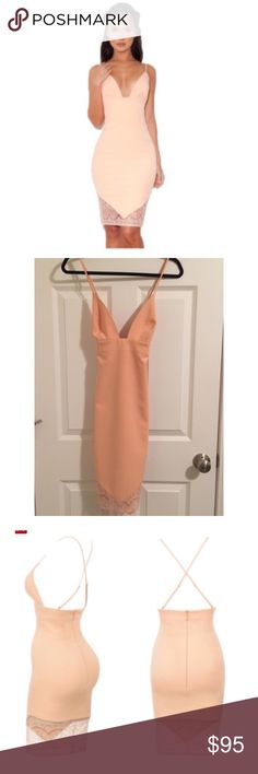 House of CB Peach Pencil Dress Beautiful dress! Never worn. Tags attached. Form fitting with beautiful lace detailing at the bottom of the dress. No trades. Please use offer button. House of CB Dresses Midi