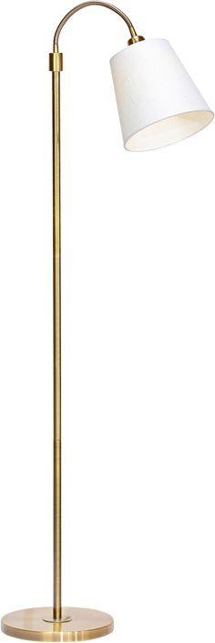 Golvlampa Cia med brytare på armen. Höjd 160 cm, diameter 27 cm. E27, max 40W. 1 st toppringsskärm i lin. Skärmens storlek höjd 19 cm, diameter 22/9 cm.