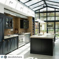 Kitchen GOALS. This is everything we want our kitchen to be once our non existent kitchen has been reconfigured and the rear/side extension is built. #victorianhouses #victorianhouse #victorianterrace #victorianhouseextension #fixerupper #ff #rearextension #sidereturnextension #renovation #devolkitchens #dreamkitchen #kitchengoals #deVOLkitchen #kitchen #shakerstyle #shakerstylecabinets #exposebrick #vaultedceiling #bifolddoors