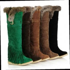 46.70$  Watch here - http://aliltw.worldwells.pw/go.php?t=32464395154 - Plus Size 40 41 42 43 Laides Pull On Thigh High Winter Snow Boots Women's Super Warm Over The Knee Flat Fringe Boots
