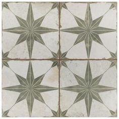 Imported from Spain, Old-world European elegance radiates from the Merola Tile Kings Star Sage Encaustic in. Ceramic Floor and Wall Tile. Save time and labor spent arranging smaller Floor Patterns, Star Patterns, Tile Patterns, House Tiles, Wall And Floor Tiles, Verde Vintage, Mandarin Stone, Tiles Direct, Olives