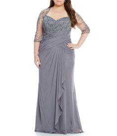 46e81a17ac1 MGNY Madeline Gardner New York Plus Illusion Beaded Mesh Gown  Dillards  Madeline Gardner