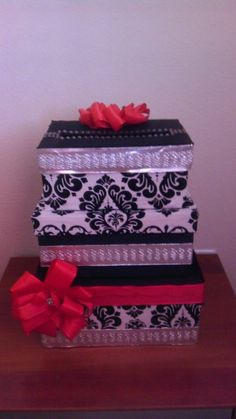 My DIY Cardbox Step by Step Instructions (Picture heavy) :  wedding step by step diy cardbox black white silver and red red silver diy reception IMAG0673