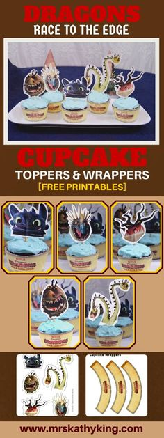 Free Dragons Race to the Edge Printable Cupcake Toppers  pinterest
