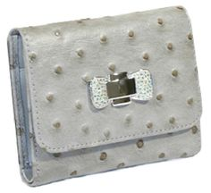 ModaRevise – Stella Chang's  Light gray and black suede ostrich embossed wallet