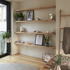 wooden shelves Create a stylish storage solution by filling an alcove with open timber shelving Timber Floating Shelves, Wooden Bathroom Shelves, Timber Shelves, Wooden Floating Shelves, Oak Shelves, Rustic Shelves, Living Room Shelves, My Living Room, Alcove Shelving