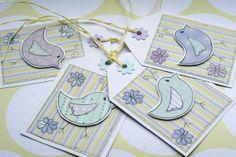 Little Spring Flower Birds - Set of Four Gift Tags £3.00