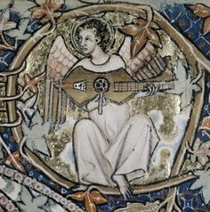 """Angel playing citole in a c. 1310 illustration from the """"Ormesby Psalter"""", The Bodleian Library, Oxford, Manuscript: Douce 366, fol. 009v, roll210D frame2."""