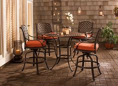 Dine outdoors in style with the Moreaux 5-piece outdoor counter-height dining set. Its cast aluminum table has the beautiful look of wrought iron yet is lighter in weight as well as corrosion-resistant for durability through the seasons.