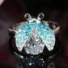 White Gold Blue Austrian Crystal Ladybug Ring