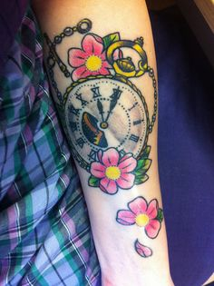 Tattoo<3 My second tattoo done by Davey at Needlework tattoos in Lightwater, UK. Absolutely chuffed to bits with the result! Got this done on my birthday (20th March) and the time on the watch is when I was born Tattoo~