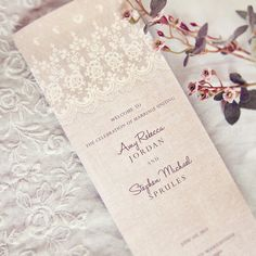 Rustic Lace Wedding Programs - Vintage Elegant Romantic Antique Lace Linen - DEPOSIT - 09260909-P via Etsy