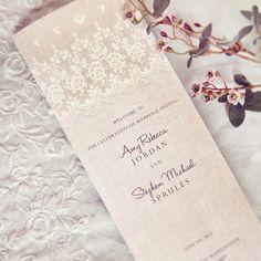 Rustic Lace Wedding Programs - Vintage Elegant Romantic Antique Lace Linen - DEPOSIT - 09260909-P via Etsy