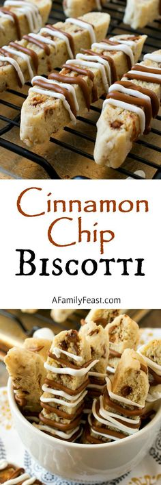 Cinnamon Chip Biscotti - A sweet and spicy biscotti filled with cinnamon chips and walnuts and a white chocolate, cinnamon drizzle on top. Its quick, easy and so delicious! Cookie Desserts, Just Desserts, Cookie Recipes, Delicious Desserts, Dessert Recipes, Cinnamon Desserts, Holiday Baking, Christmas Baking, Italian Christmas