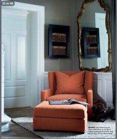 Stockholm Vitt - Interior Design: Comfy Armchair paint color gold fantastic home interior decor Beautiful Interior Design, Modern Interior Design, Interior Architecture, Living Room Colors, Living Room Designs, Comfy Armchair, House Design Photos, Home Living, Living Rooms