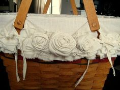 making a basket liner with roses