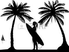 Beautiful young surfer girl standing on the beach between the palms silhouette, one in the series of similar images photo