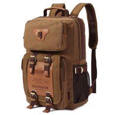 Zaino Vintage Canvas Uomo Zaini Backpack Rucksack (Cachi Scuro)