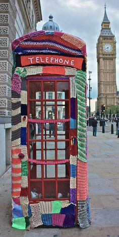 Yarn Bombing. I do believe this was the exact telephone booth I took a picture in when I went to London. Oh, London! I miss you!