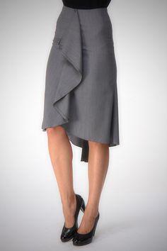 High low skirt, A line grey skirt ,knee length, Custom order , playful skirt , high quality tailor made, High fashion