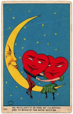 vintage moon postcard, 1907 by merle Vintage Moon, Vintage Art, Creepy Vintage, Retro Art, Vintage Roses, Vintage Images, Art And Illustration, Vintage Illustrations, Arte Inspo