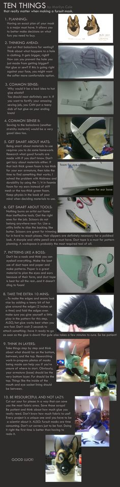 Tips on Making a fursuit mask by Katmomma on deviantART. Costume Tutorial, Cosplay Tutorial, Cosplay Diy, Best Cosplay, Cool Costumes, Cosplay Costumes, Dragon Costume, Wolf Costume, Fursuit Tutorial