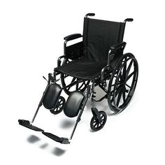 Everest & Jennings Traveler Lightweight Wheelchair with Flip Back Arm and Elevating Leg Rests 16 x 16, Black