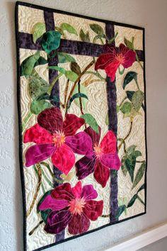 Sally Papin Fiber Art: Celmatis Wall Hanging More Applique Wall Hanging, Quilted Wall Hangings, Wall Hanging Quilts, Hanging Art, Quilt Design Wall, Wall Design, Landscape Art Quilts, Watercolor Landscape, Landscape Paintings